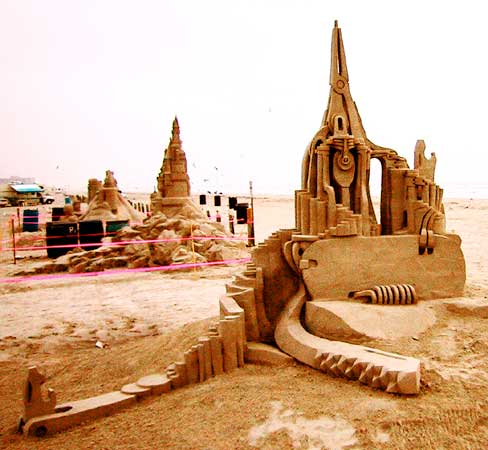 swiss army castle - completed sand sculpture